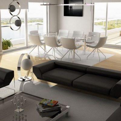 Оформление гостиной комнаты в хай тек
