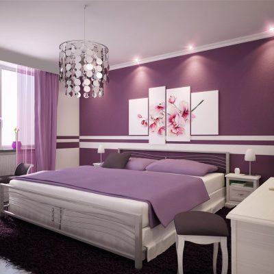 Фиолетовый интерьер спальни