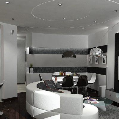 Круглый диван в гостиной