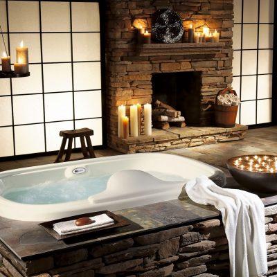 Камни в отделке ванной