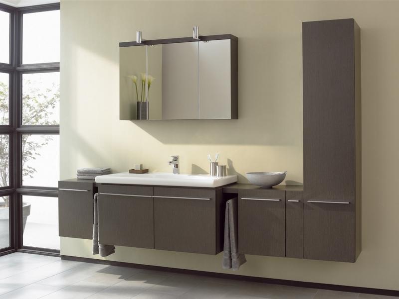 Серая мебель в ванной