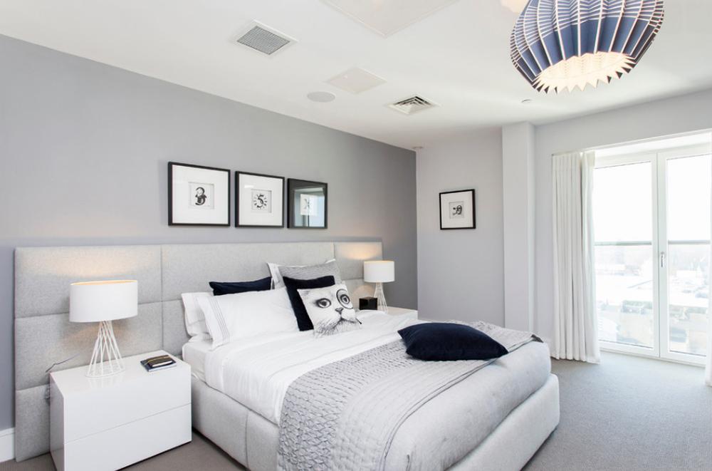 Белое в интерьере спальни
