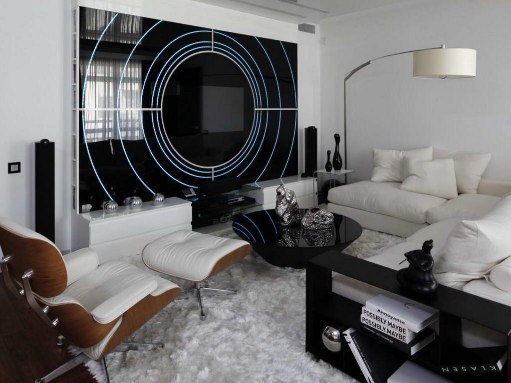 Оформление гостиной комнаты в хай тек стиле в интерьере на фото