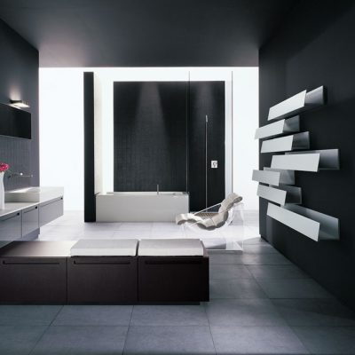 Стильная черная ванная