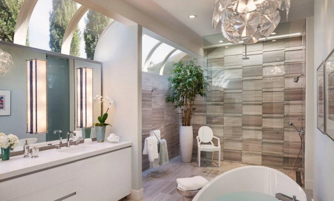 Плитка в интеьрере ванной комнате