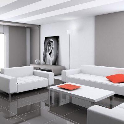 Хай тек стиль гостиной комнаты