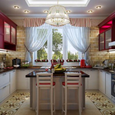 Красивая кухня дизайн со шторами