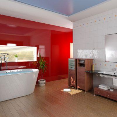Яркая красная ванная