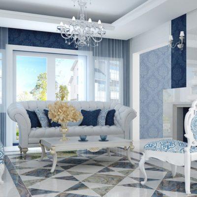 Голубые тона в гостиной неоклассики