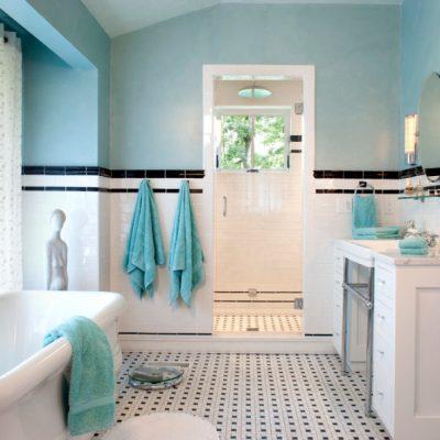 Голубой интерьер ванной