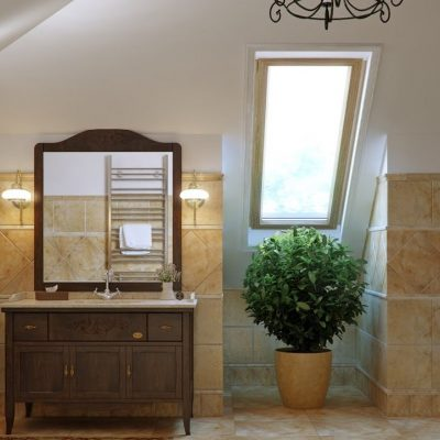 Растения в интерьере ванной кантри стиля