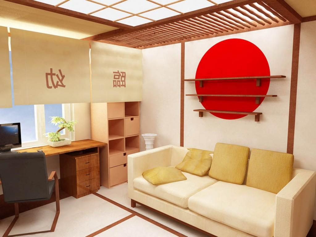 Оформление стены японскими атрибутами