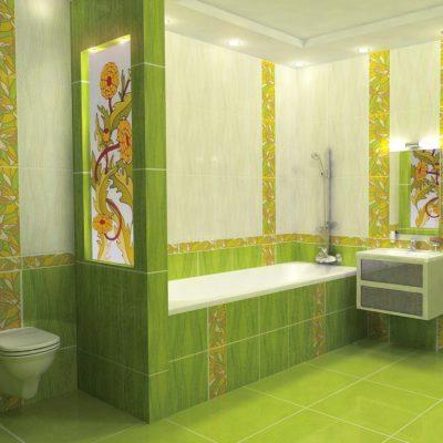 Зеленая модерн ванная