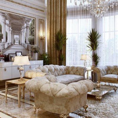 Богатая мебель в гостиной