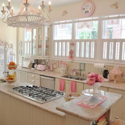 Кухня шебби шик стиля в интерьере на фото
