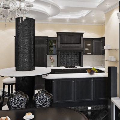 Черное оформление кухни