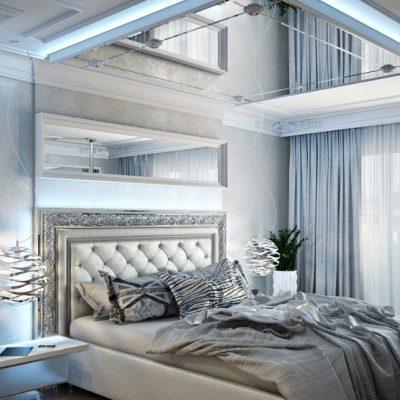 Хай тек стиль интерьера в спальне