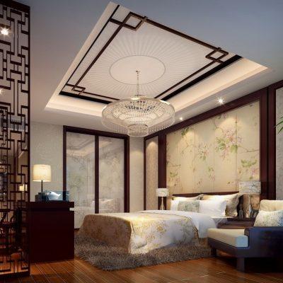 нтересный вариант оформления потолка в спальне