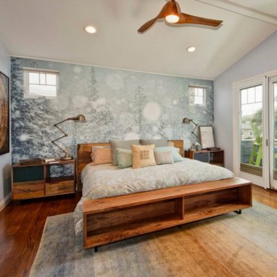 фотообои над кроватью в спальне