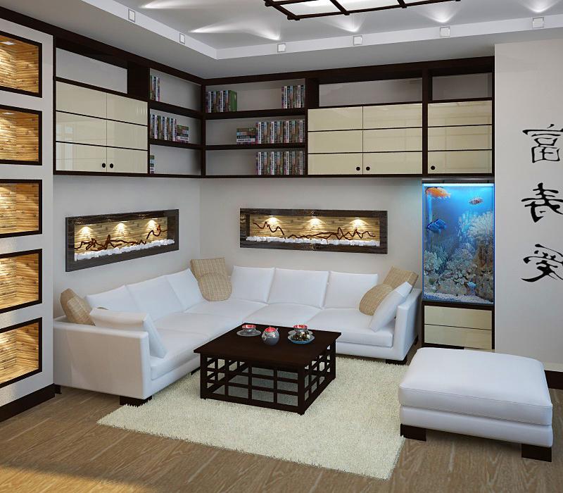 Модная гостиная в японском стиле