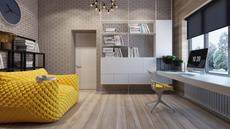 Кабинет в стиле лофт: рабочее пространство будущего