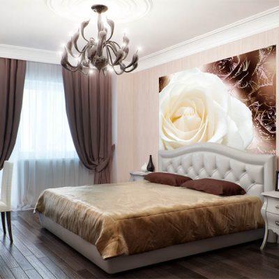 фотообои над кроватью в спальне с цветами по фен шуй