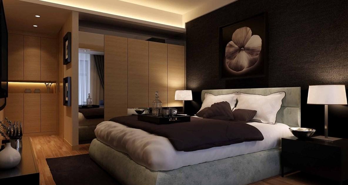 Темное оформление спальни