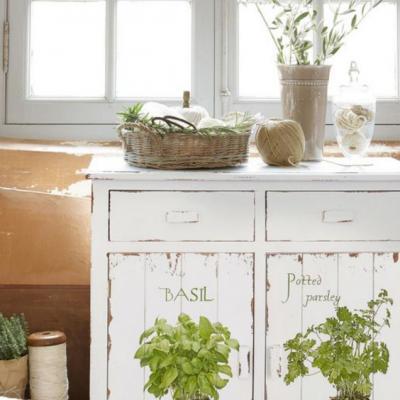 Цветы на кухне шебби шик
