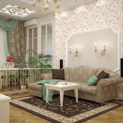 Зал борокко стиля мебели в интерьере