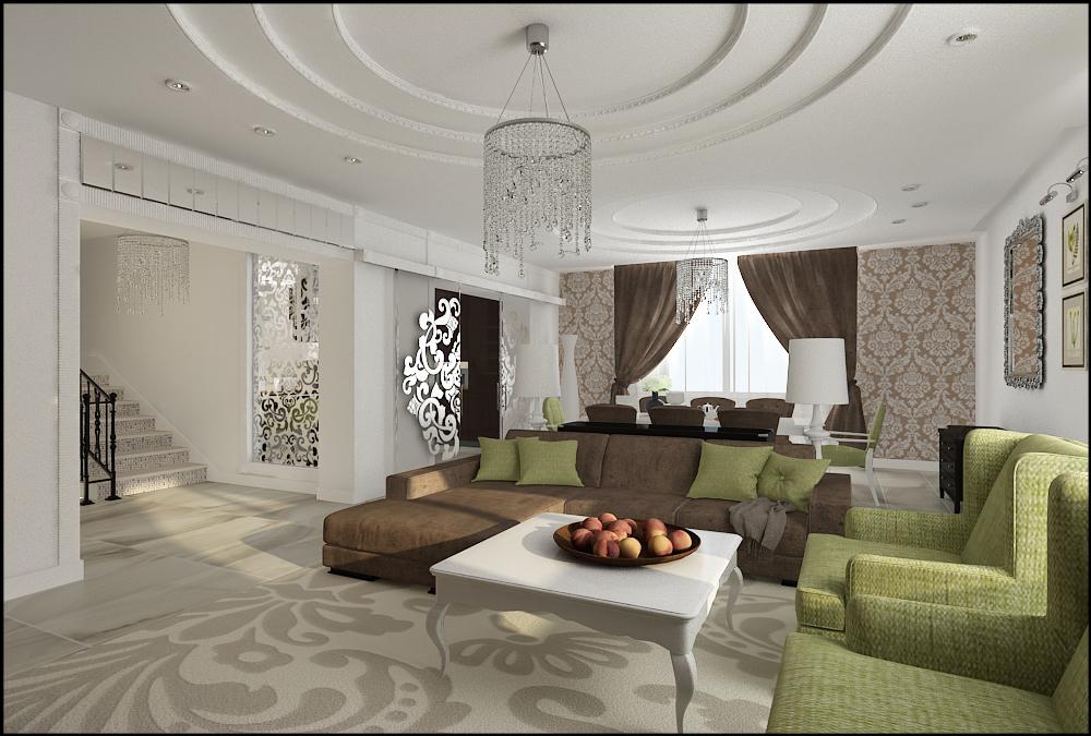 Гостиная арт деко стиля в интерьере