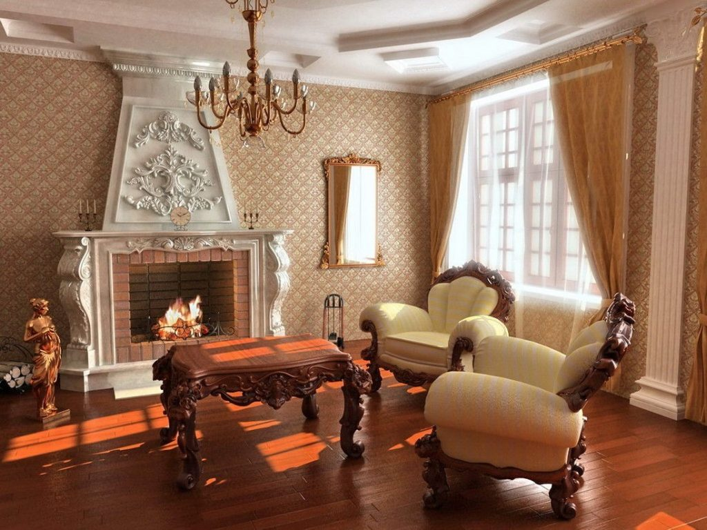 Зал борокко стиля мебели в интерьере с камином