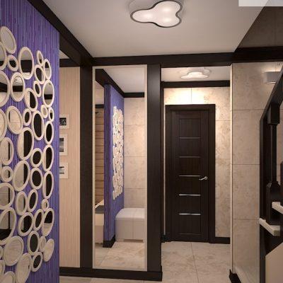 Фиолетовая отделка стены