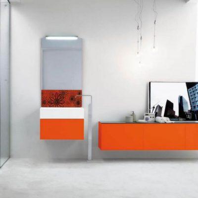 Оранжевая стенка в интерьере