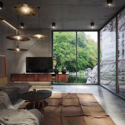 Панарамные окна в гостиной
