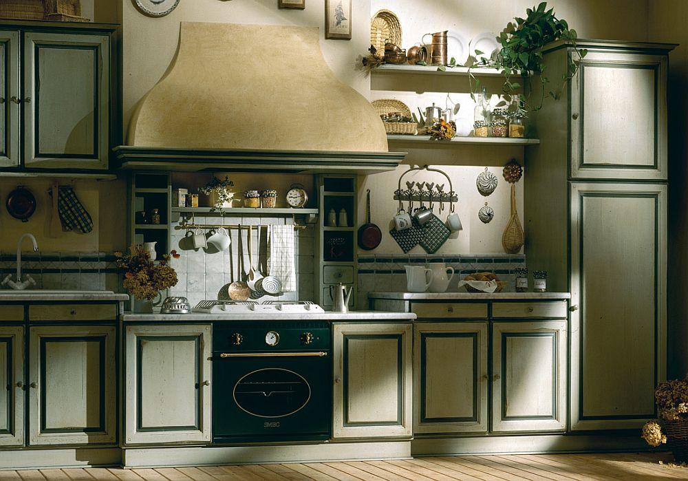 темная зеленая кухня