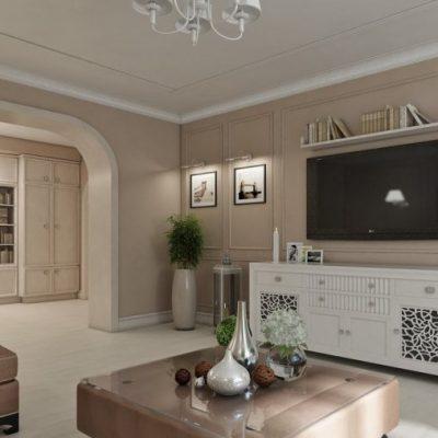 Оформление внешней стены в гостиной