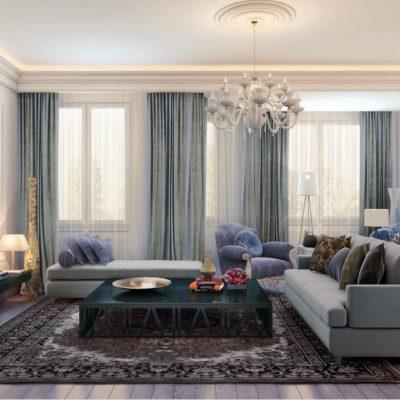 Длинные прямые шторы в гостиной