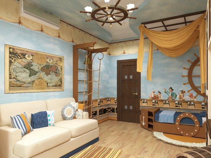 Люстра в морском стиле на потолке интерьера