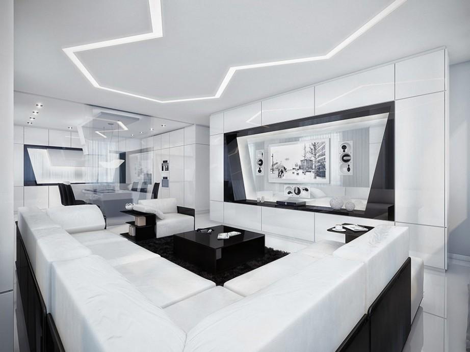 Оформление в белых оттенках гостиной