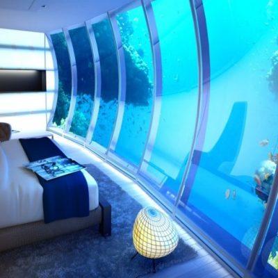 Супер аквариум в спальне с проектором