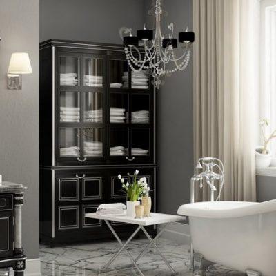 Черная стенка в ванной