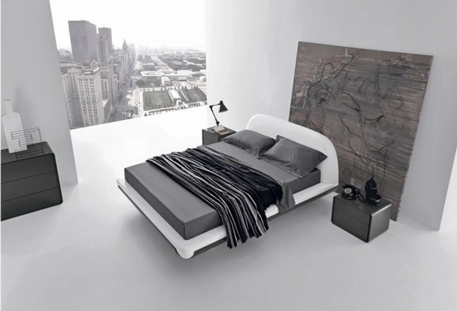 Серых оттенков спальня