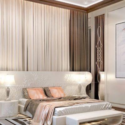 Спальня нежных оттенков для женщины