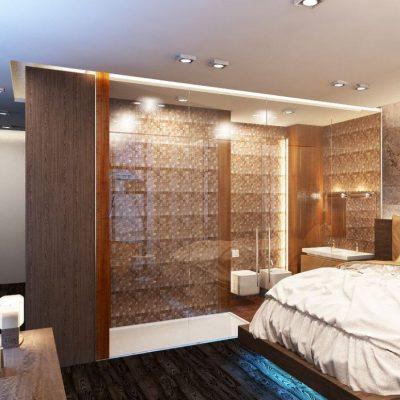 Коричневый интерьер спальни