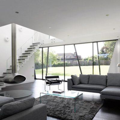 Серый интерьер гостиой