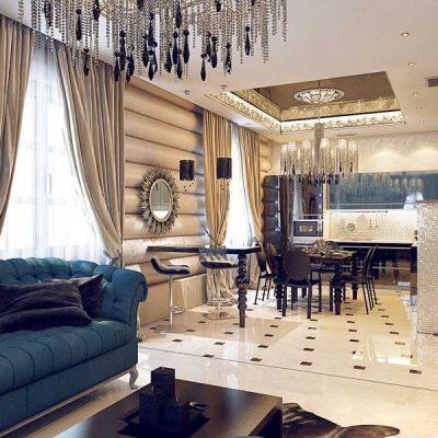Гостиная арт деко стиля в интерьере на фото