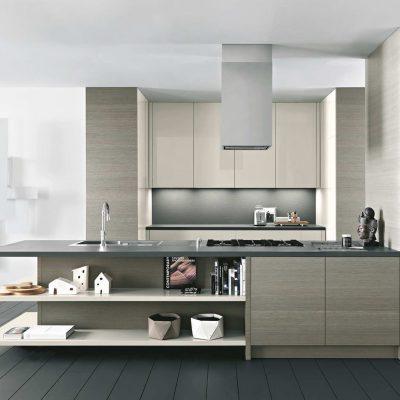 Блеклая кухня серого оттенка