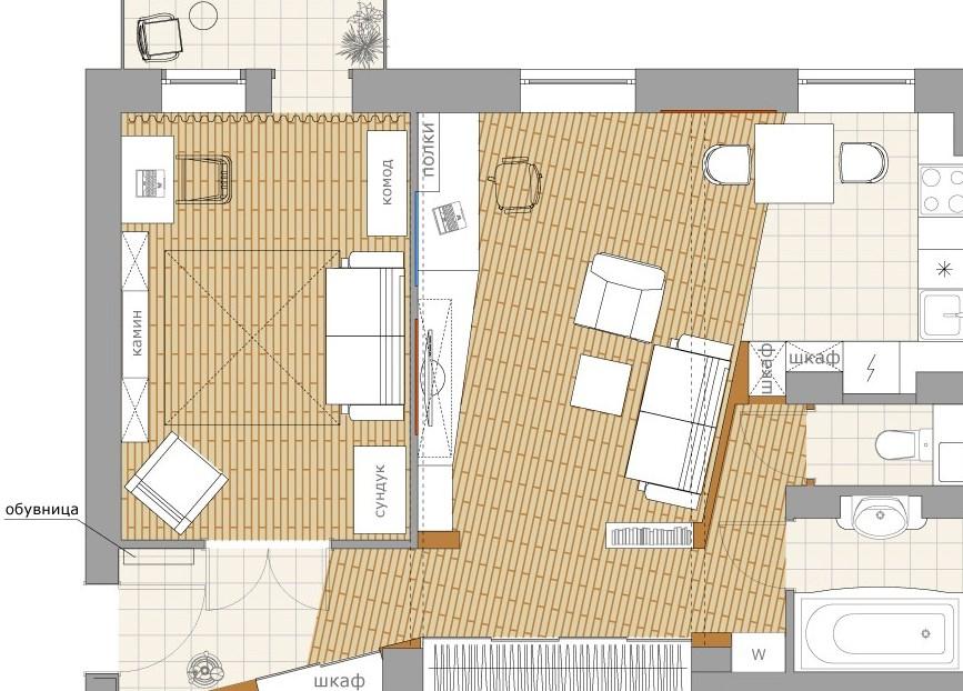 Расположение мебели в перепланировке
