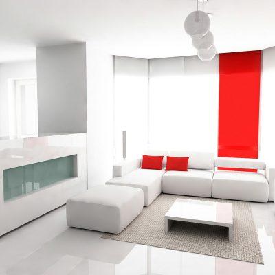 Разбавление красным цветом белого интерьера