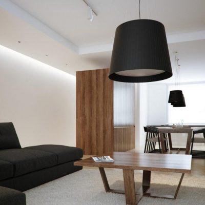 Бра в интерьере минимализма гостиной
